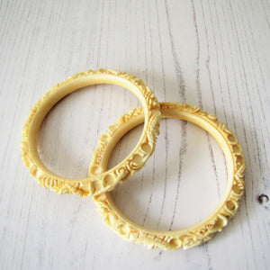 Antique Elephant Ivory Chinese Carved Dragon Bangles