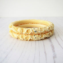Load image into Gallery viewer, Antique Elephant Ivory Chinese Carved Dragon Bangles