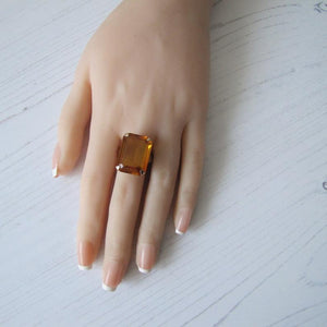 12 Carat Madeira Citrine Ring, 9ct Rose Gold. - MercyMadge