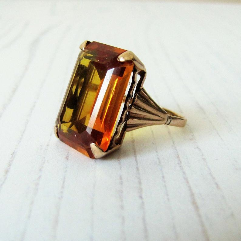 12 Carat Madeira Citrine Ring, 9ct Rose Gold. - Mercy Madge