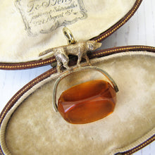 Load image into Gallery viewer, Antique Gold & Citrine Spinner Watch Fob, Hunting Dog - MercyMadge