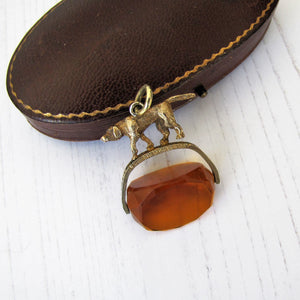 Antique Gold & Citrine Spinner Watch Fob, Hunting Dog - MercyMadge