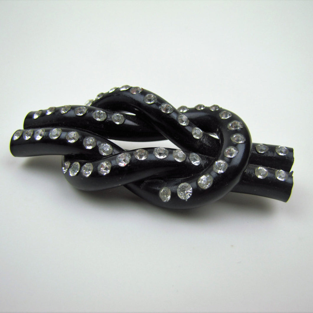 1930s Art Deco Black Bakelite & Rhinestone Knot Brooch. - MercyMadge