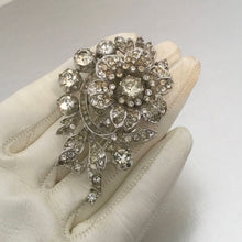 Load image into Gallery viewer, Alfred Philippe Trifari Rhodium Silver & Crystal  Diamante Fur Clip. - MercyMadge
