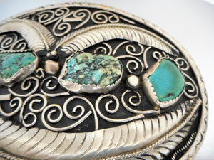 Huge Native American Silver & Turquoise Trophy Belt Buckle - Mercy Madge