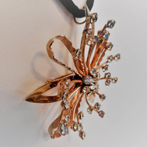 1940s Retro Starburst Pendant Brooch, Sterling Silver Gold Vermeil. - MercyMadge