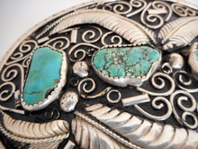 Load image into Gallery viewer, Huge Native American Silver & Turquoise Trophy Belt Buckle - Mercy Madge