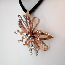 Load image into Gallery viewer, 1940s Retro Starburst Pendant Brooch, Sterling Silver Gold Vermeil. - MercyMadge