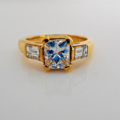 3 Stone Flawless 2.09ct Diamond Engagement Ring, Certified - MercyMadge