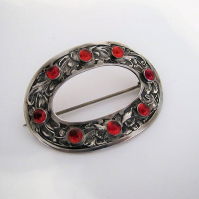 Art Nouveau Silver Paste Ruby Poppy Brooch. - Mercy Madge