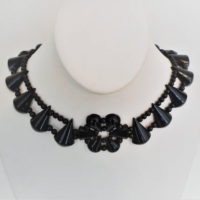 Victorian Whitby Jet Collar Necklace - MercyMadge