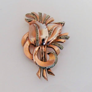 Nordic New York Vintage Sterling Silver, Rose Gold Flower Brooch. - MercyMadge
