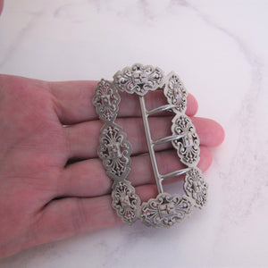 Victorian Sterling Silver & Gold Belt Buckle - MercyMadge