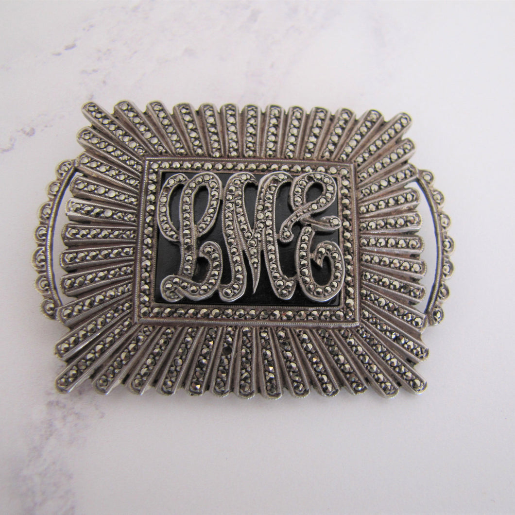 Art Deco Silver Marcasite & Onyx Monogram Brooch - MercyMadge