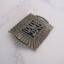 Load image into Gallery viewer, Art Deco Silver Marcasite & Onyx Monogram Brooch - MercyMadge