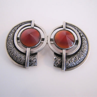 Theodor Fahrner, Germany Brooch. 935 Silver, Marcasite & Carnelian Art Deco Brooch. - Mercy Madge