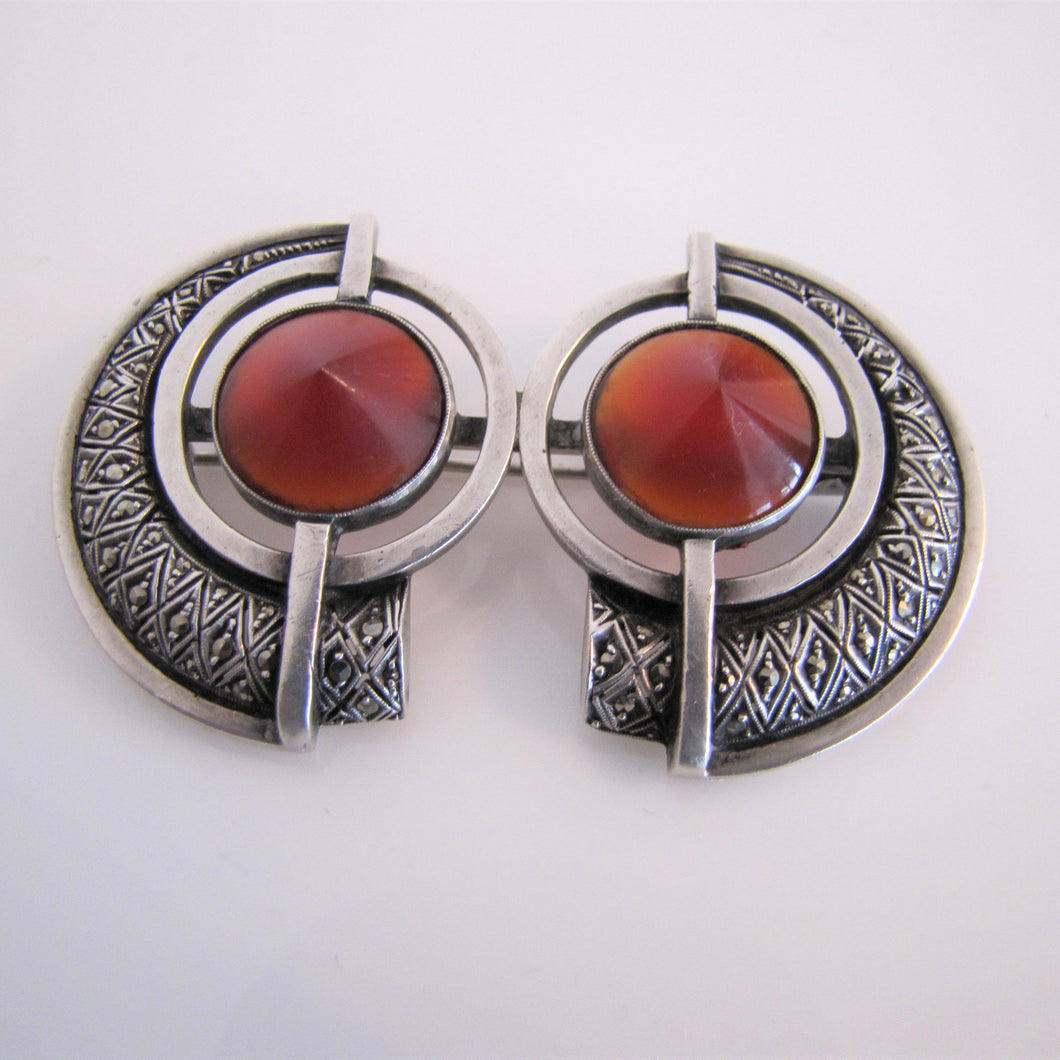 Theodor Fahrner, Germany Brooch. 935 Silver, Marcasite & Carnelian Art Deco Brooch. - MercyMadge