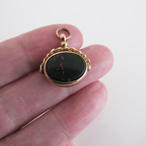 Victorian 9ct Gold Bloodstone & Carnelian Spinner Fob Pendant, 1848 - MercyMadge