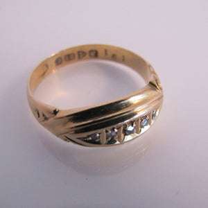 Antique 18ct Gold Diamond Band Ring, Chester 1911 - Mercy Madge