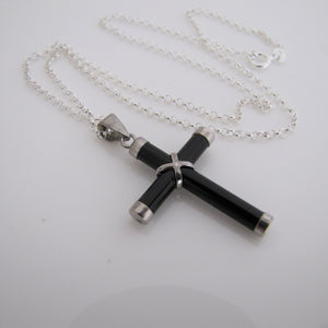 Vintage Onyx & Sterling Silver Cross & Chain. - MercyMadge