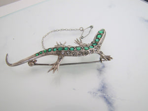 Antique 935 Silver, Paste Diamond, Emerald, Ruby Lizard Brooch - MercyMadge