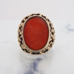 Gents 1970s 9ct Gold Intaglio Ring - MercyMadge