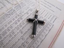 Load image into Gallery viewer, Vintage Onyx & Sterling Silver Cross & Chain. - MercyMadge
