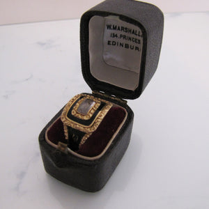 Georgian 18ct Gold Enamel Mourning Ring With Woven Hair, 1822 - MercyMadge