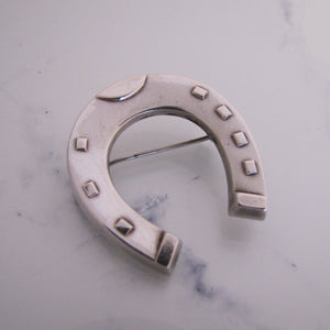 Antique Victorian Silver Large Horseshoe Brooch - MercyMadge