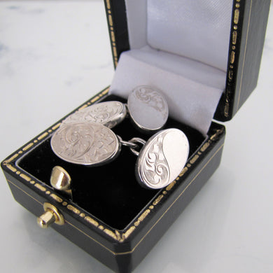 Antique English Sterling Silver Cufflinks. Edwardian Victorian Engraved Oval Cuff Links. - MercyMadge
