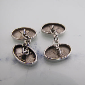 Antique English Sterling Silver Cufflinks. Edwardian Victorian Engraved Oval Cuff Links. - Mercy Madge