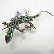 Load image into Gallery viewer, Antique 935 Silver, Paste Diamond, Emerald, Ruby Lizard Brooch - MercyMadge