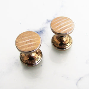 1930s Art Deco Gold Stud Cufflinks, Engine Turned Engraved. - MercyMadge