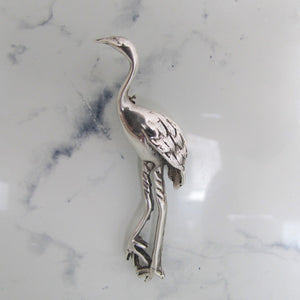 Vintage Sterling Silver Stork Brooch. - MercyMadge
