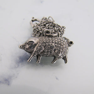 Victorian Boar Pendant Charm Necklace, Sterling Silver - MercyMadge