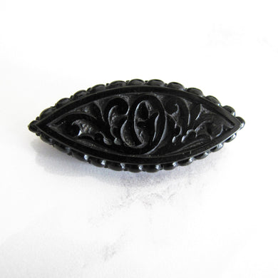 Victorian Whitby Jet Mourning Brooch. - Mercy Madge