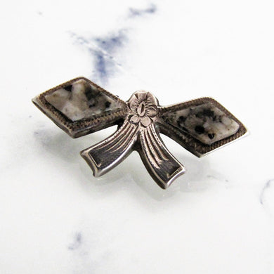 Victorian Scottish Silver & Granite Bow Brooch/Cravat Pin - Mercy Madge