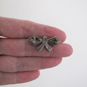 Victorian Scottish Silver & Granite Bow Brooch/Cravat Pin - MercyMadge