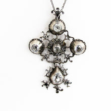 Cargar imagen en el visor de la galería, Georgian Pendant Necklace.  'Croix de Saint Lo' Black Dot Paste Diamond Cross. - MercyMadge