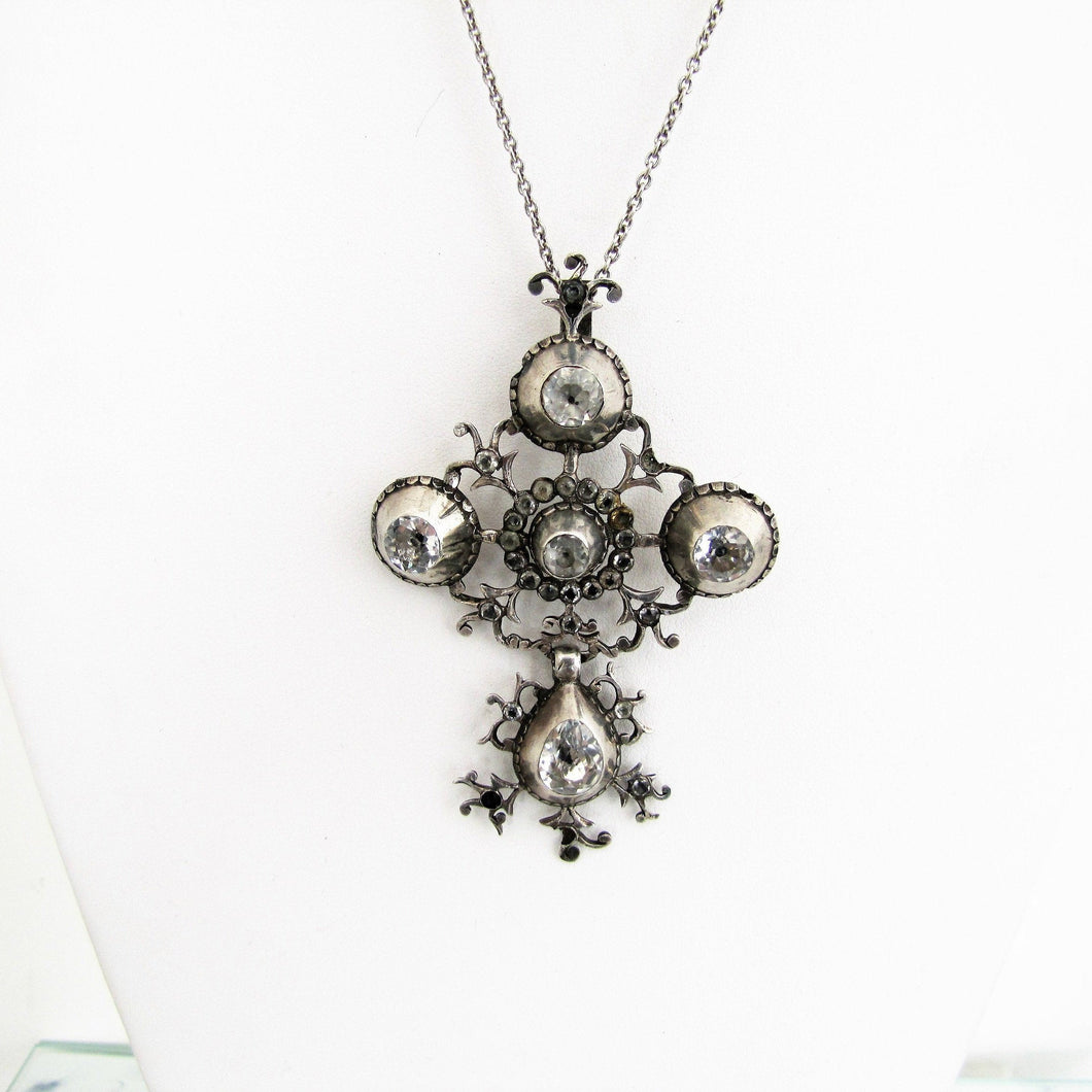 Georgian Pendant Necklace.  'Croix de Saint Lo' Black Dot Paste Diamond Cross. - MercyMadge