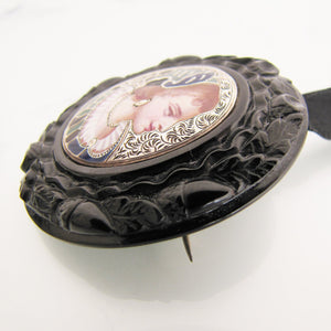 Antique Whitby Jet Enameled Silver Portrait Pendant/Brooch - MercyMadge