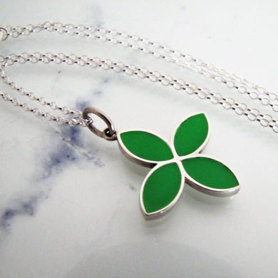 Pandora Silver Enamel Flower Pendant Necklace. - MercyMadge