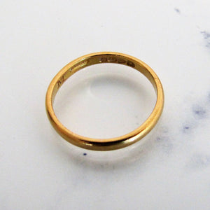 Art Deco 22ct Yellow Gold Slim Wedding Band Ring, Chester Hallmarks - MercyMadge