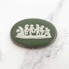 Load image into Gallery viewer, Sterling Silver Green Jasperware Cameo Brooch, Wedgwood 1969. - MercyMadge