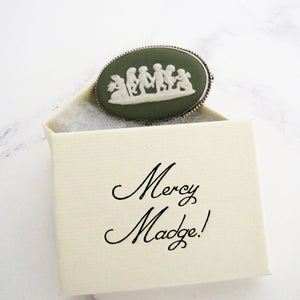 Sterling Silver Green Jasperware Cameo Brooch, Wedgwood 1969. - MercyMadge