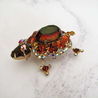 Vintage Rhinestone Turtle Brooch by Juliana, Delizza And Elster, USA. - Mercy Madge