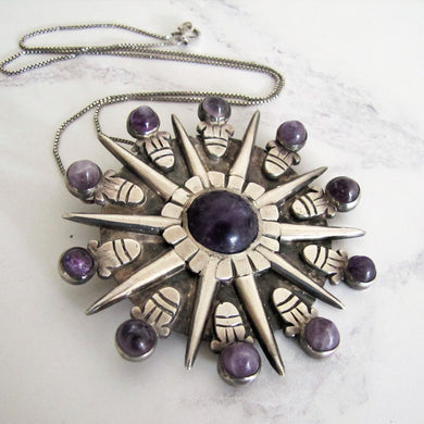 William Spratling Silver & Amethyst Pendant - Mercy Madge