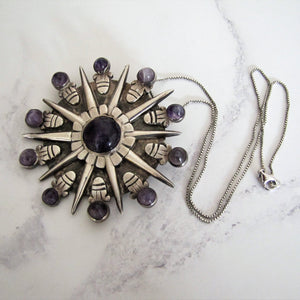 William Spratling Silver & Amethyst Pendant - MercyMadge