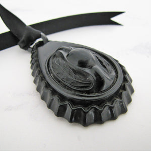 Victorian Black Horn & Vulcanite Mourning Pendant - MercyMadge