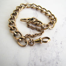 Load image into Gallery viewer, Antique 9ct Rolled Gold Watch Chain Bracelet. Victorian Curb Chain Bracelet, Dog Clip. - MercyMadge
